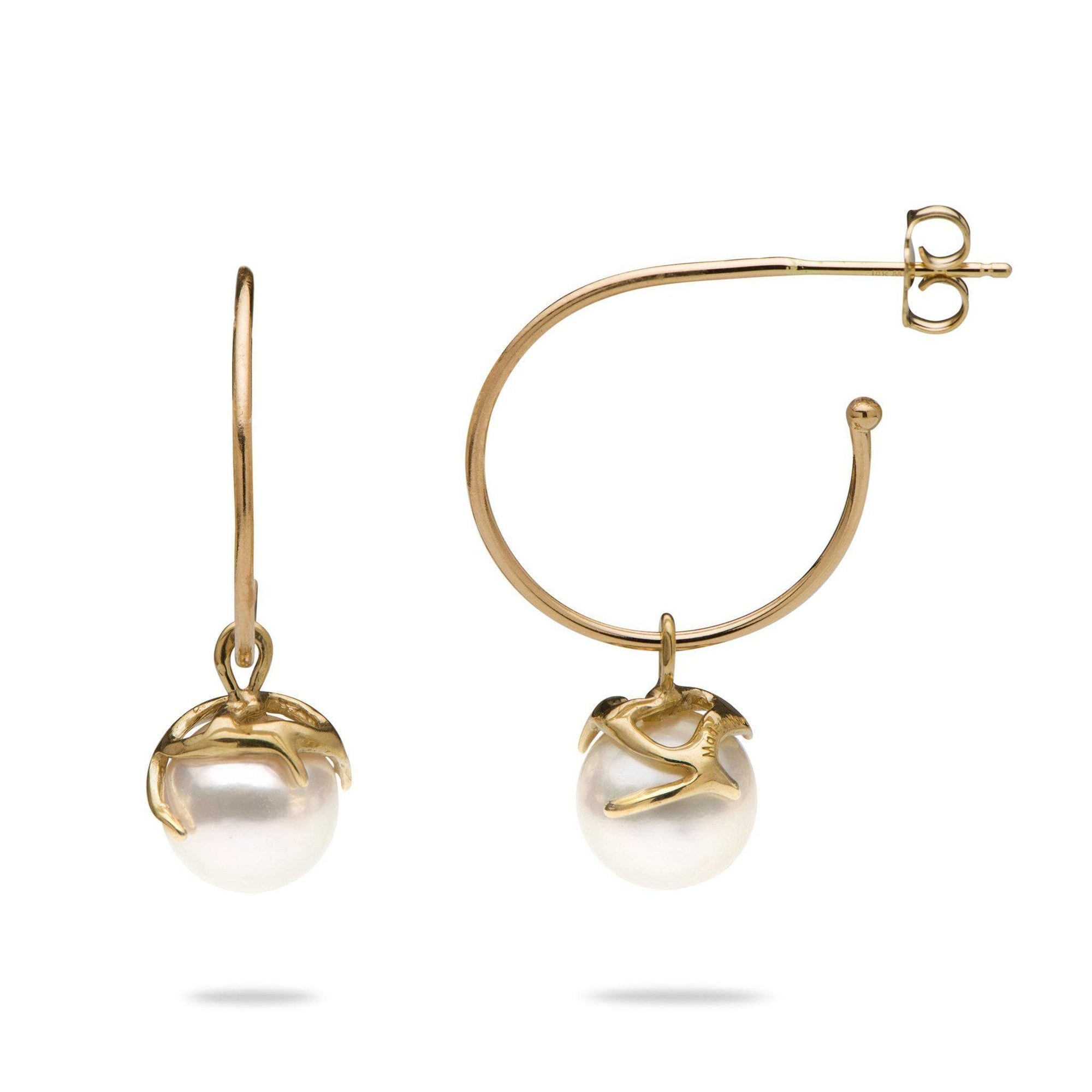 Hawaiian Heritage Akoya Pearl Earrings in Gold-[SKU]