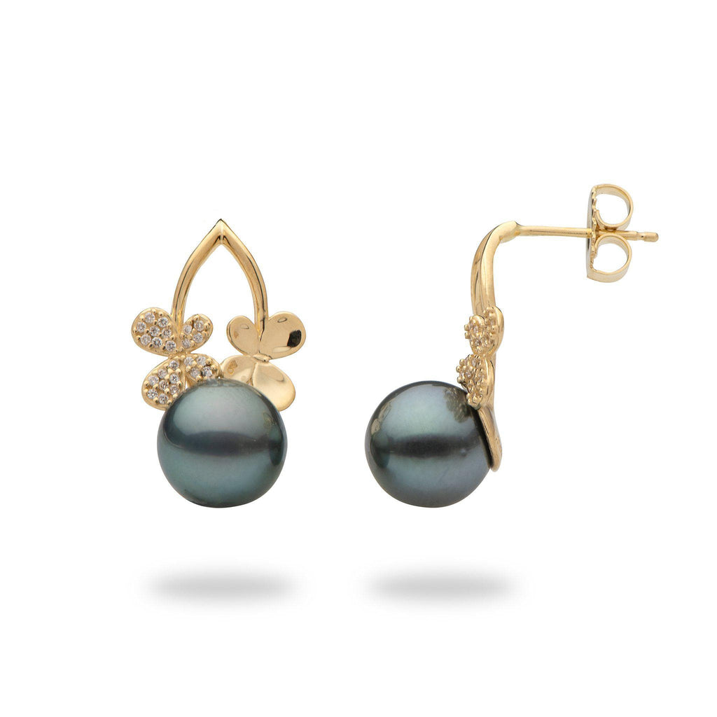Tahitian black pearl earrings with diamonds