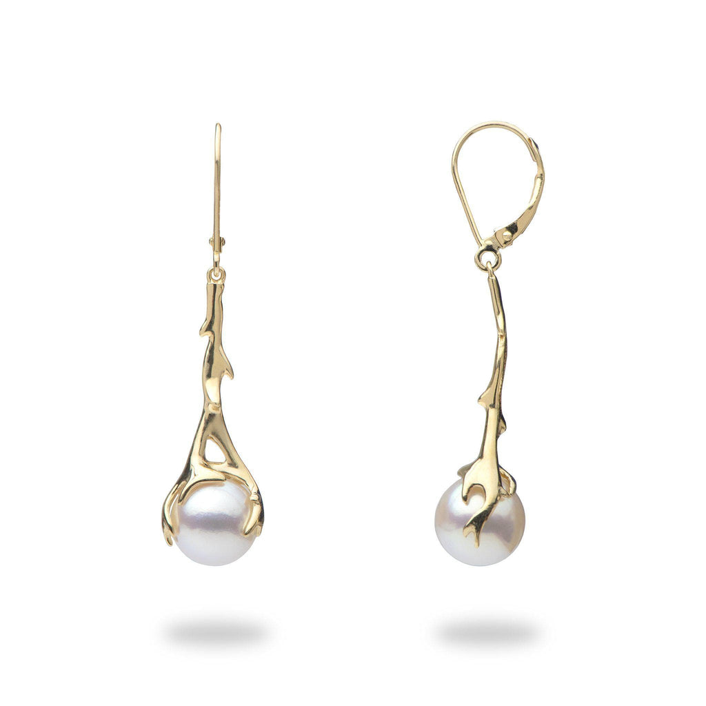 Hawaiian Heritage Akoya Pearl Earrings in 14K Yellow Gold (9-9.5mm)