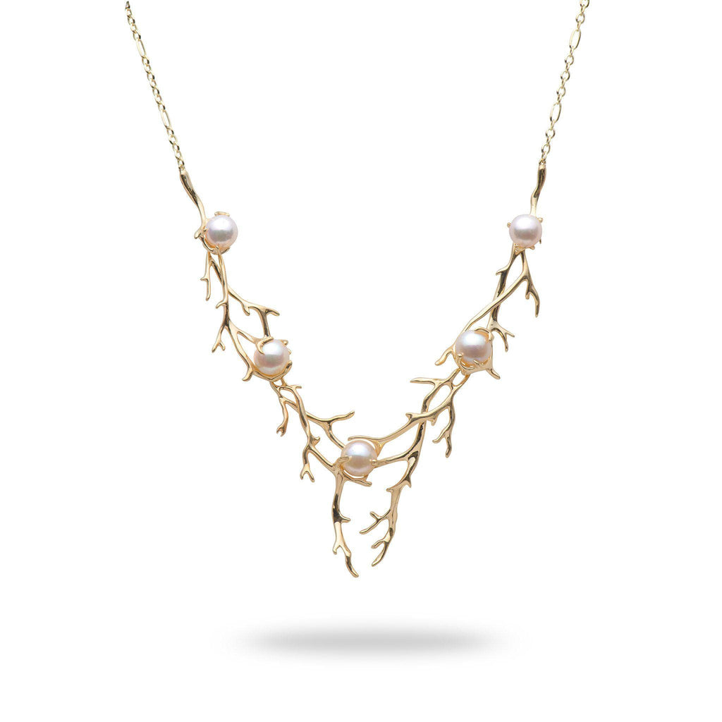 Hawaiian Heritage Akoya Pearl Necklace in 14K Yellow Gold (8-9.5mm)