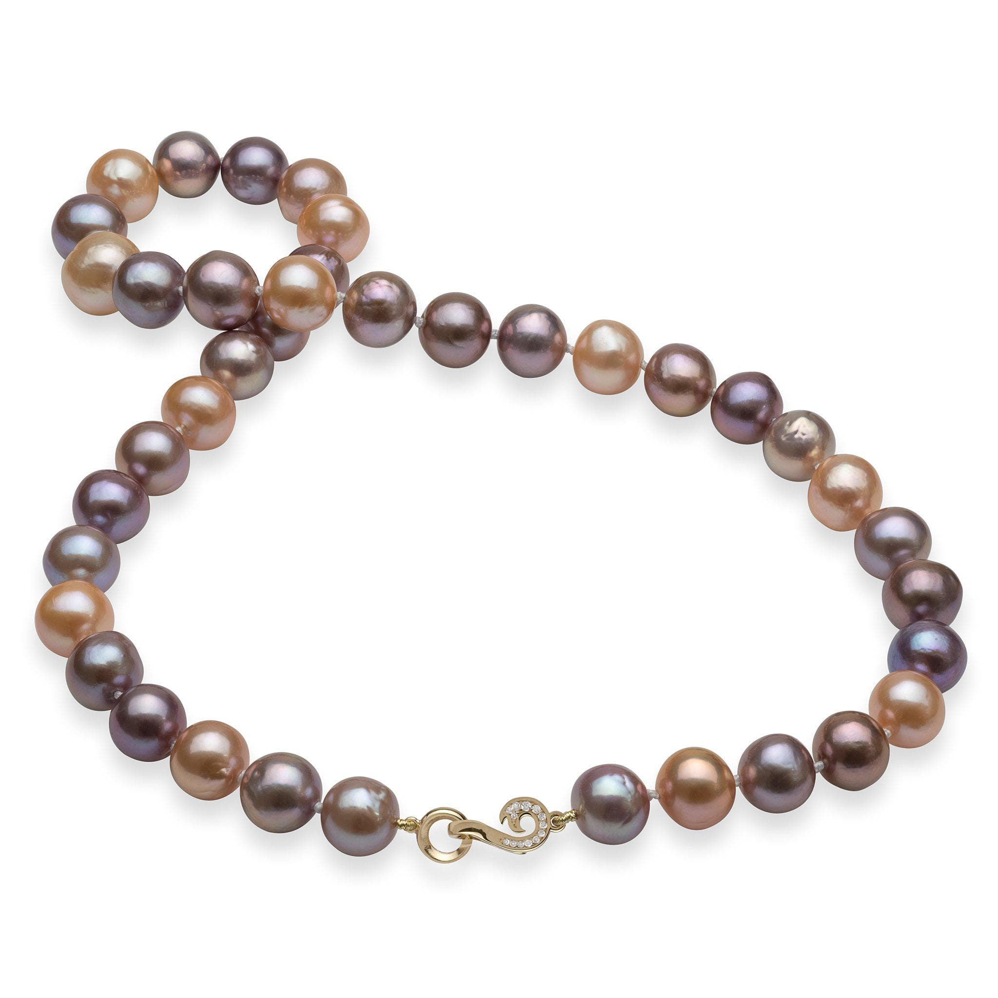 Pink and Purple Mixed Freshwater Pearl Strand with 14K Yellow Gold Clasp and Diamonds