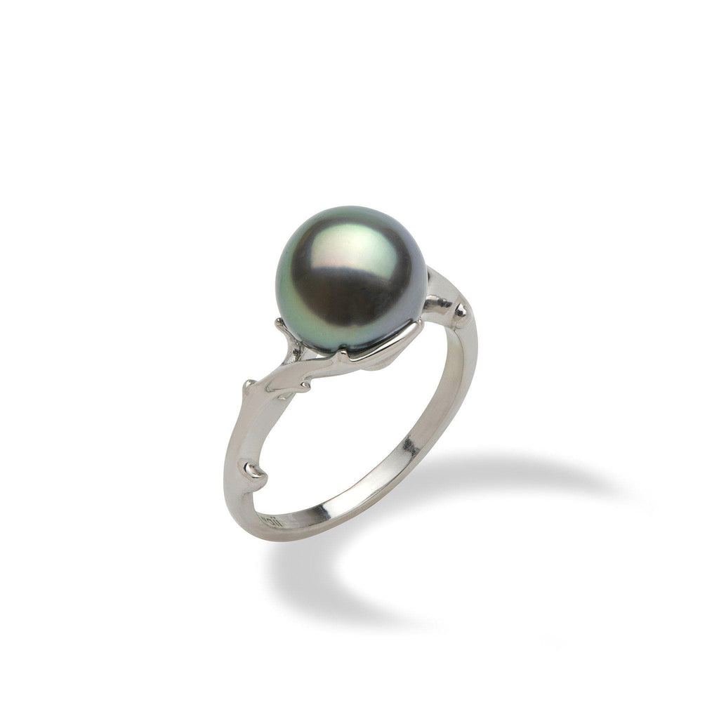 Hawaiian Heritage Tahitian Black Pearl Ring in 14K White Gold