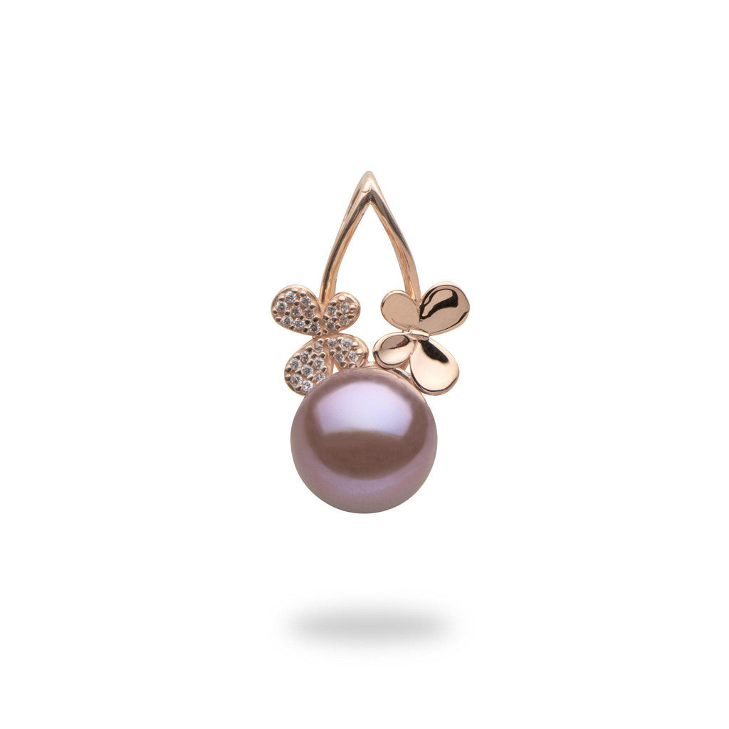 Lilac Freshwater Pearl Pendant with Diamonds in 14K Rose Gold (9-10mm)