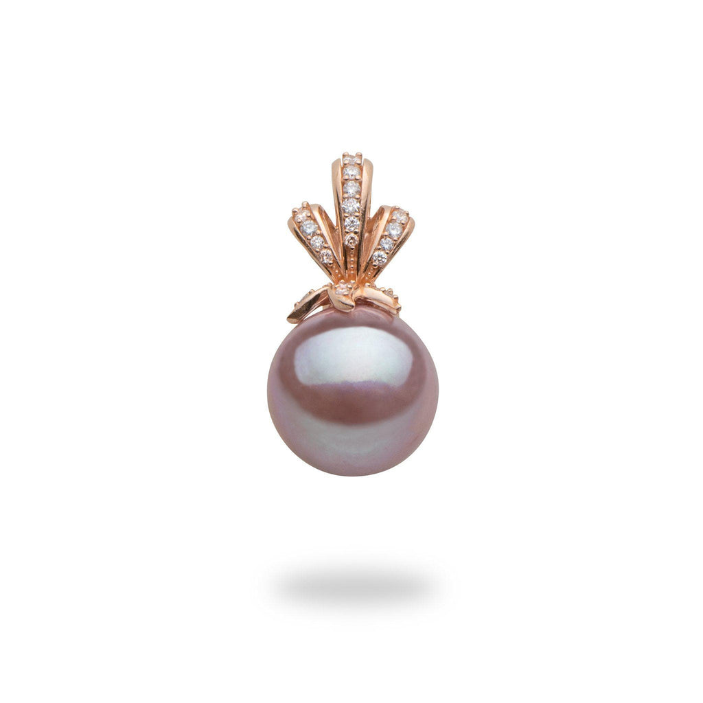 Lilac Freshwater Pearl Pendant with Diamonds in 14K Rose Gold (10-11mm)