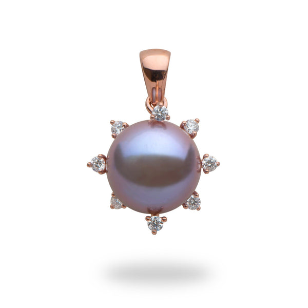 Lilac Freshwater Pearl Pendant with Diamonds in 14K Rose Gold (11-12mm) 006-15014 - Maui Divers Jewelry