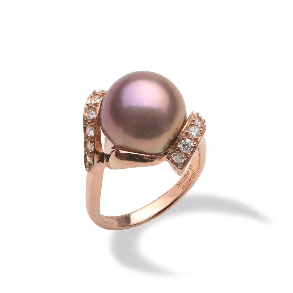 Lilac Freshwater Pearl Ring with Diamonds in 14K Rose Gold (12-13mm)-[SKU]
