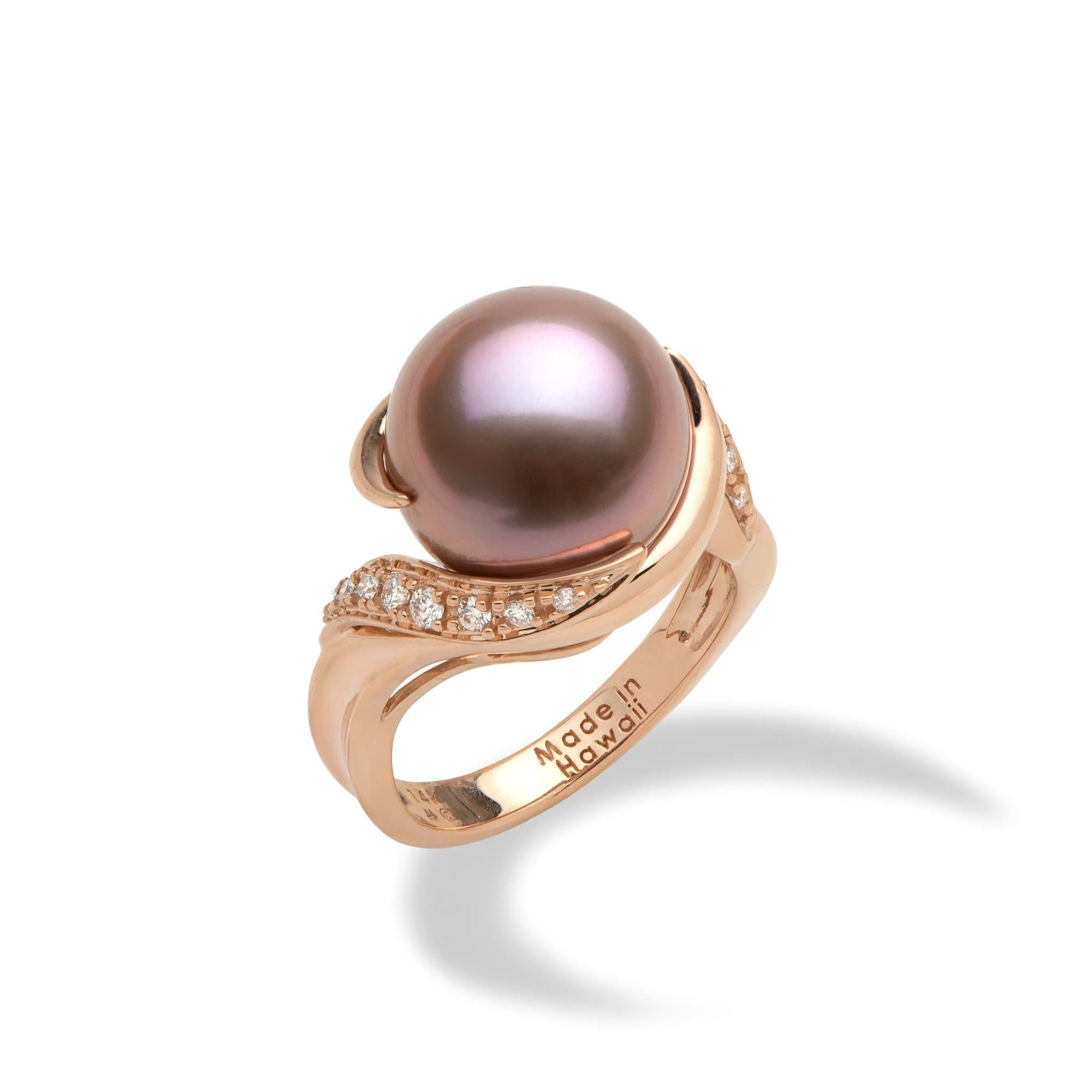 Lilac Freshwater Pearl Ring with Diamonds in 14K Rose Gold (12-13mm) - Maui Divers Jewelry