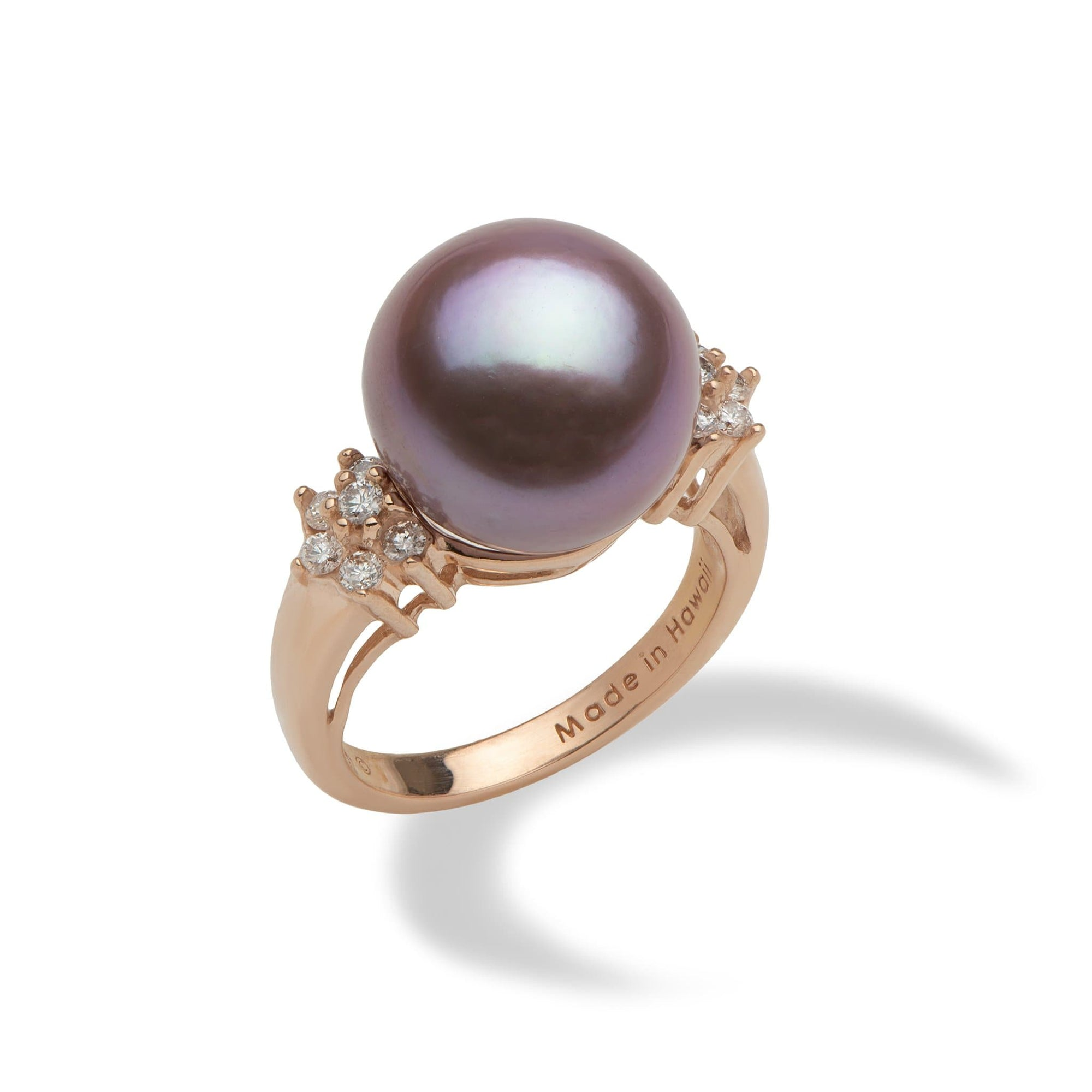 Ultra Violet Freshwater Pearl Ring with Diamonds in 14K Rose Gold (12-13mm) - Maui Divers Jewelry