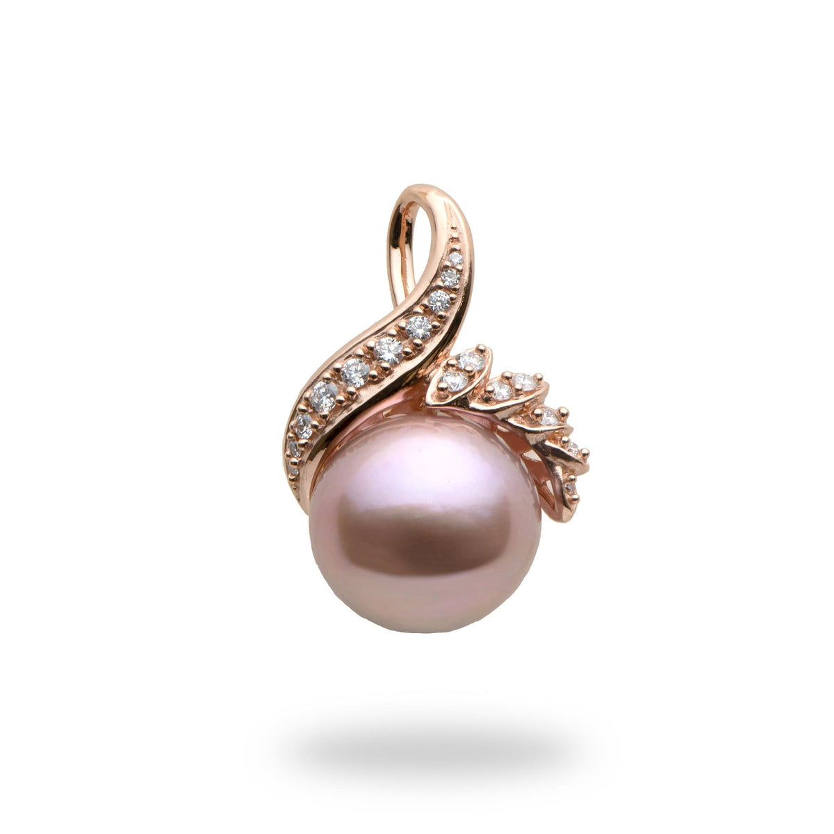 Lilac Freshwater Pearl  (13-14mm) Pendant in 14K Rose Gold with Diamonds-006-15023