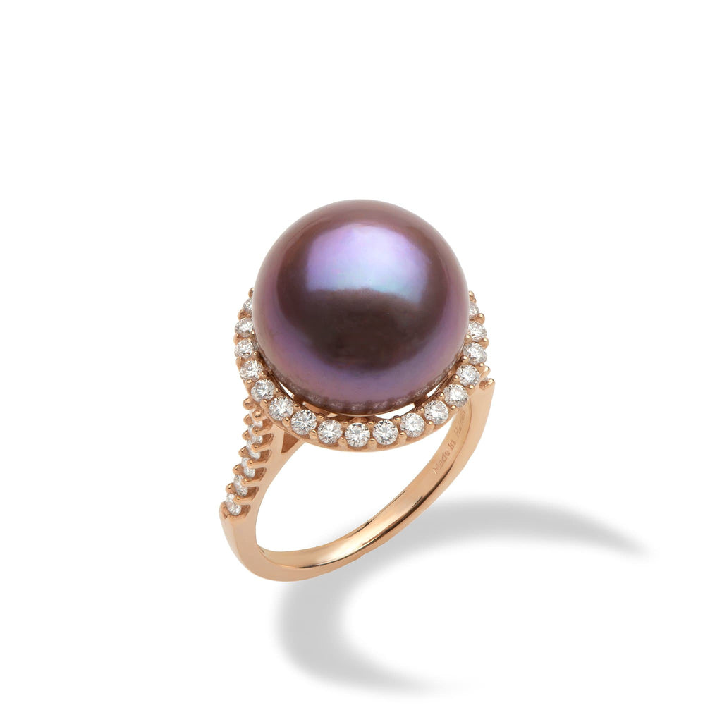 Ultra Violet Freshwater Pearl Ring with Diamonds in 14K Rose Gold (14-15mm)