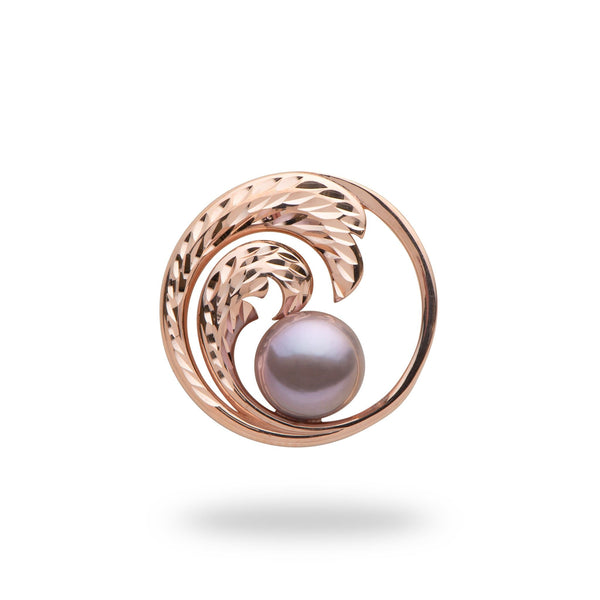 Purple pearl wave pendant in rose gold