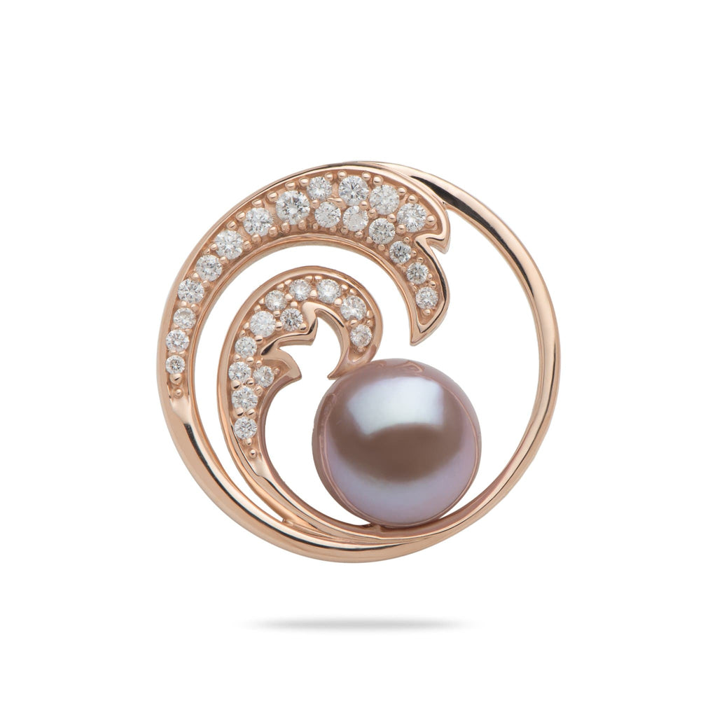 Nalu (Wave) Freshwater Pearl Pendant in 14K Yellow Gold with Diamonds-006-15029