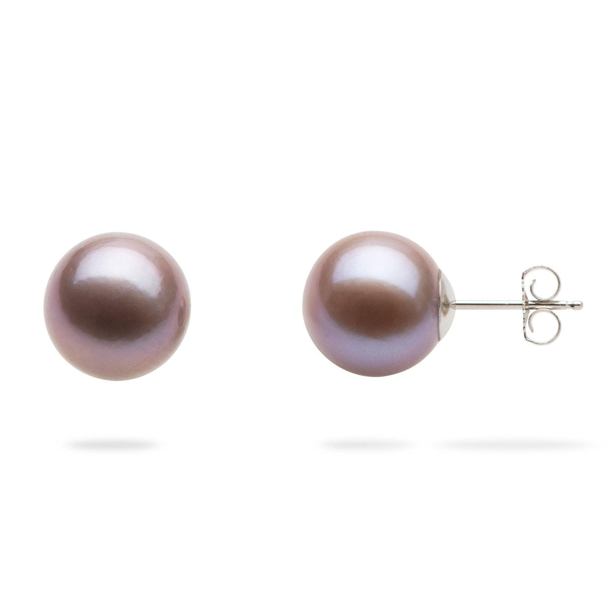 Lilac Freshwater Pearl Earrings in 14K White Gold (10-11mm)