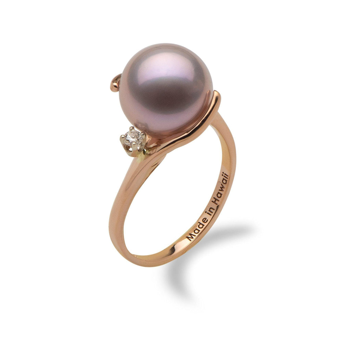 Lilac Freshwater Pearl Ring in 14K Rose Gold with Diamonds