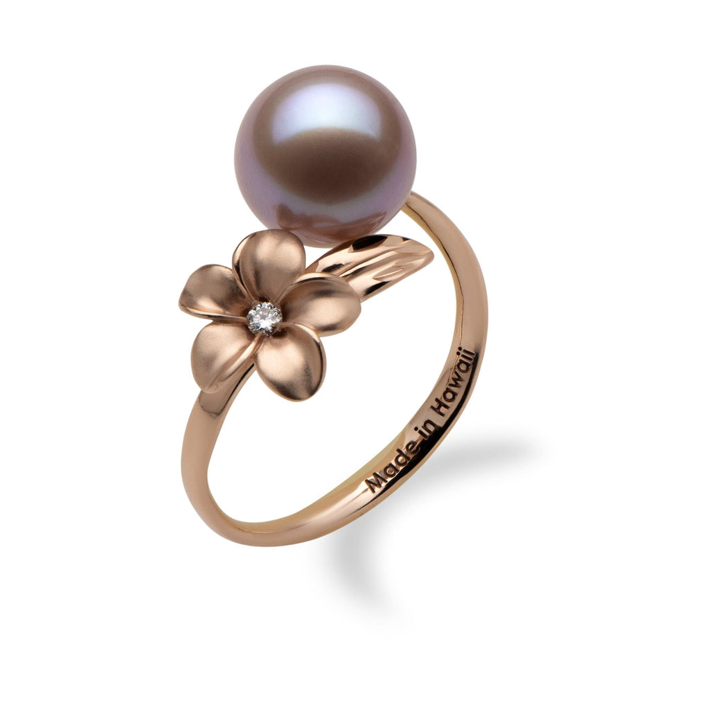 Lilac Freshwater Pearl Plumeria Ring in 14K Rose Gold with Diamond
