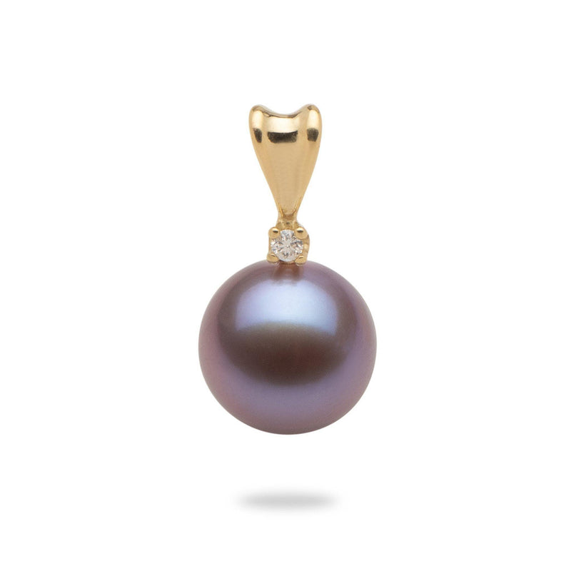 Lilac Freshwater Pearl (9-10mm) Pendant in 14K Yellow Gold with Diamonds-006-15042