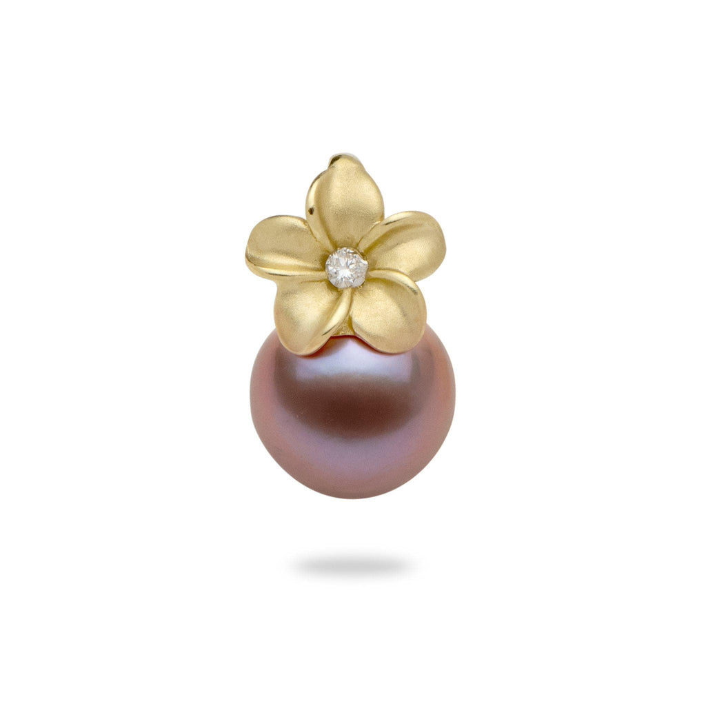 Lilac Freshwater Pearl Plumeria Pendant with Diamond in 14K Yellow Gold (9-10mm)