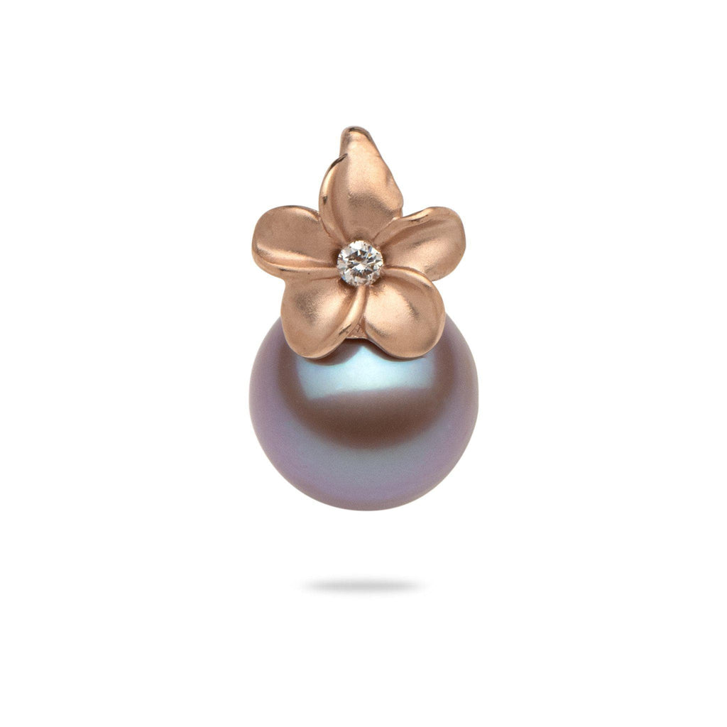 Lilac Freshwater Pearl (9-10mm) Plumeria Pendant in 14K Rose Gold-006-15046