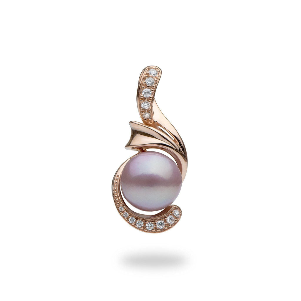 Lilac Freshwater Pearl Pendant in 14K Rose Gold with Diamonds - Maui Divers Jewelry
