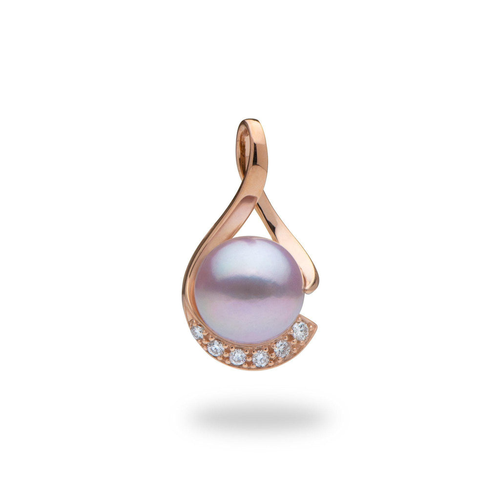 Lavender Freshwater Pearl (12-13mm) Pendant with Diamonds in 14K Rose Gold with Diamonds-006-15052