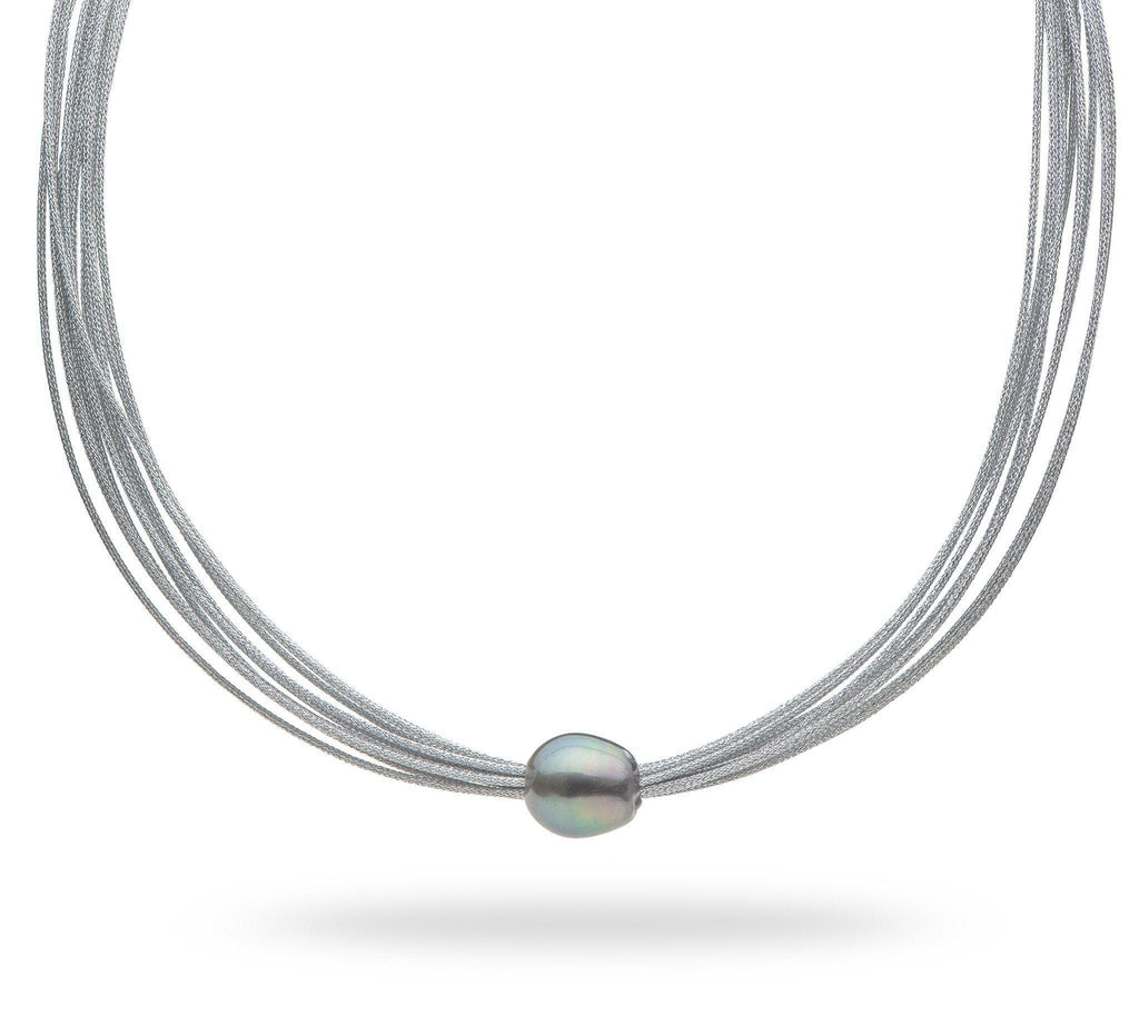 Tahitian Black Pearl (12-14mm) Necklace in Stainless Steel 006-15055