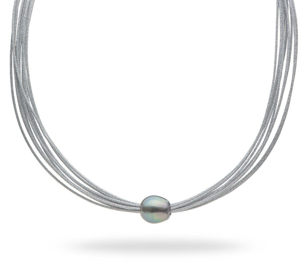 "18"" Tahitian Black Pearl Necklace in Stainless Steel-Maui Divers Jewelry"