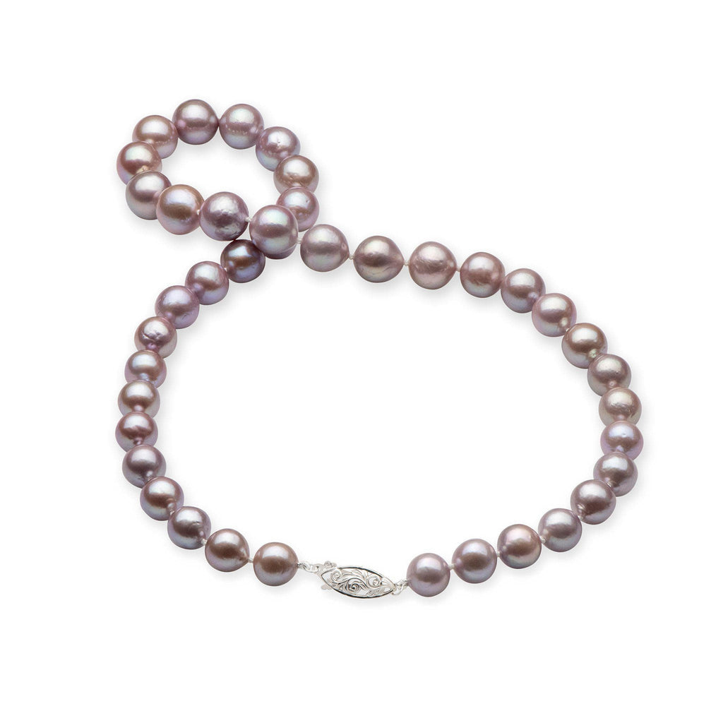 Lilac Freshwater Pearl (9-11mm) Strand in 14K White Gold 006-15064