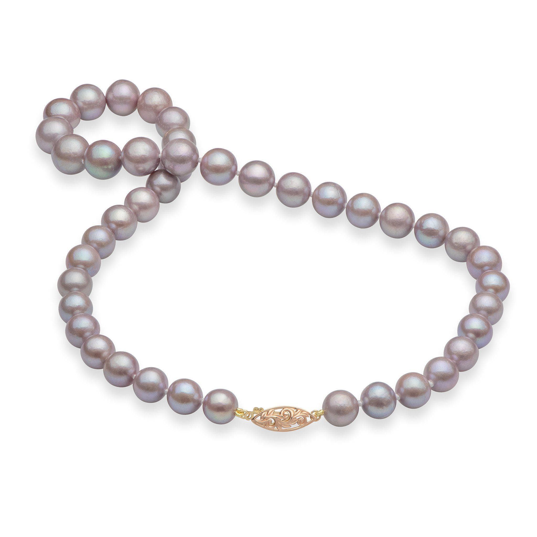 Freshwater Lilac Pearl (9-11mm) Strand in 14K Rose & Gold