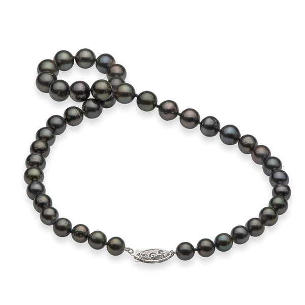 "17-19"" Tahitian Black Pearl Strand in White Gold-Maui Divers Jewelry"