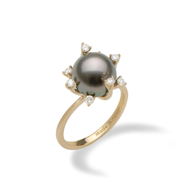Protea Tahitian Black Pearl Ring in Gold with Diamonds (10-11mm)-Maui Divers Jewelry