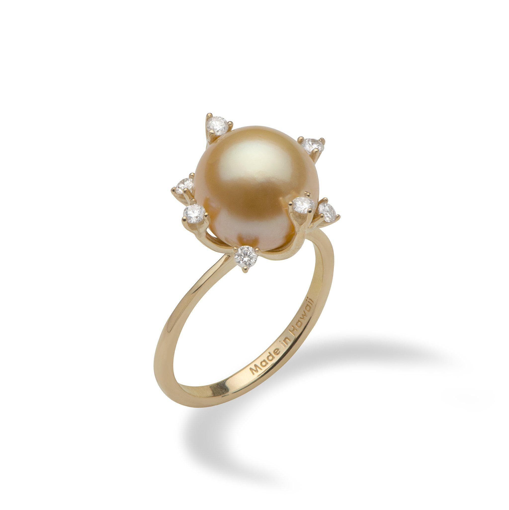 052a883f0 South Sea Golden Pearl Ring with Diamonds in 14K Yellow Gold (10-11mm)