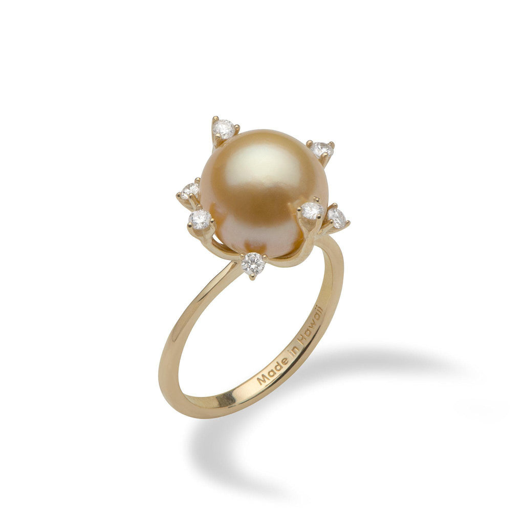South Sea Golden Pearl Ring with Diamonds in 14K Yellow Gold (10-11mm) - Maui Divers Jewelry