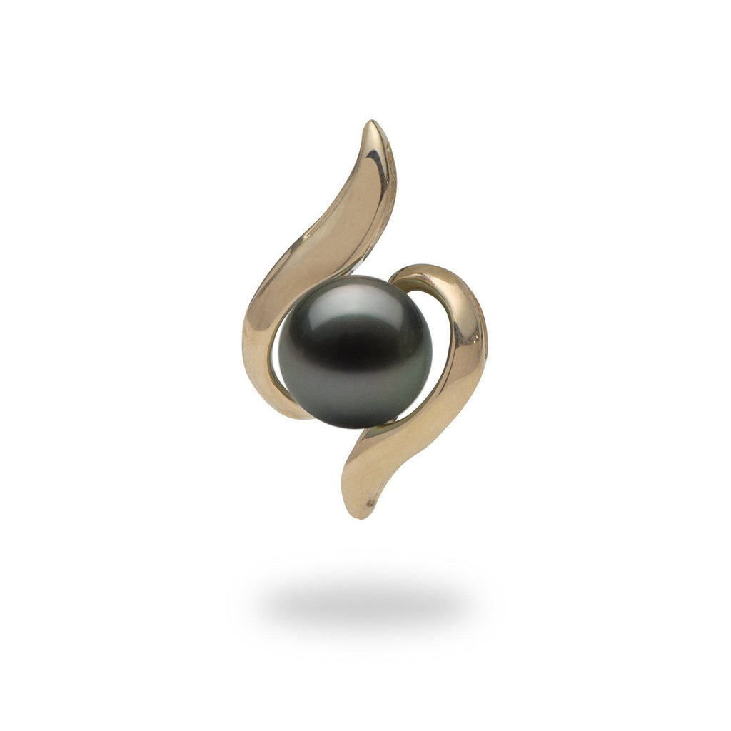 Waterfall Tahitian black pearl pendant in 14k yellow gold