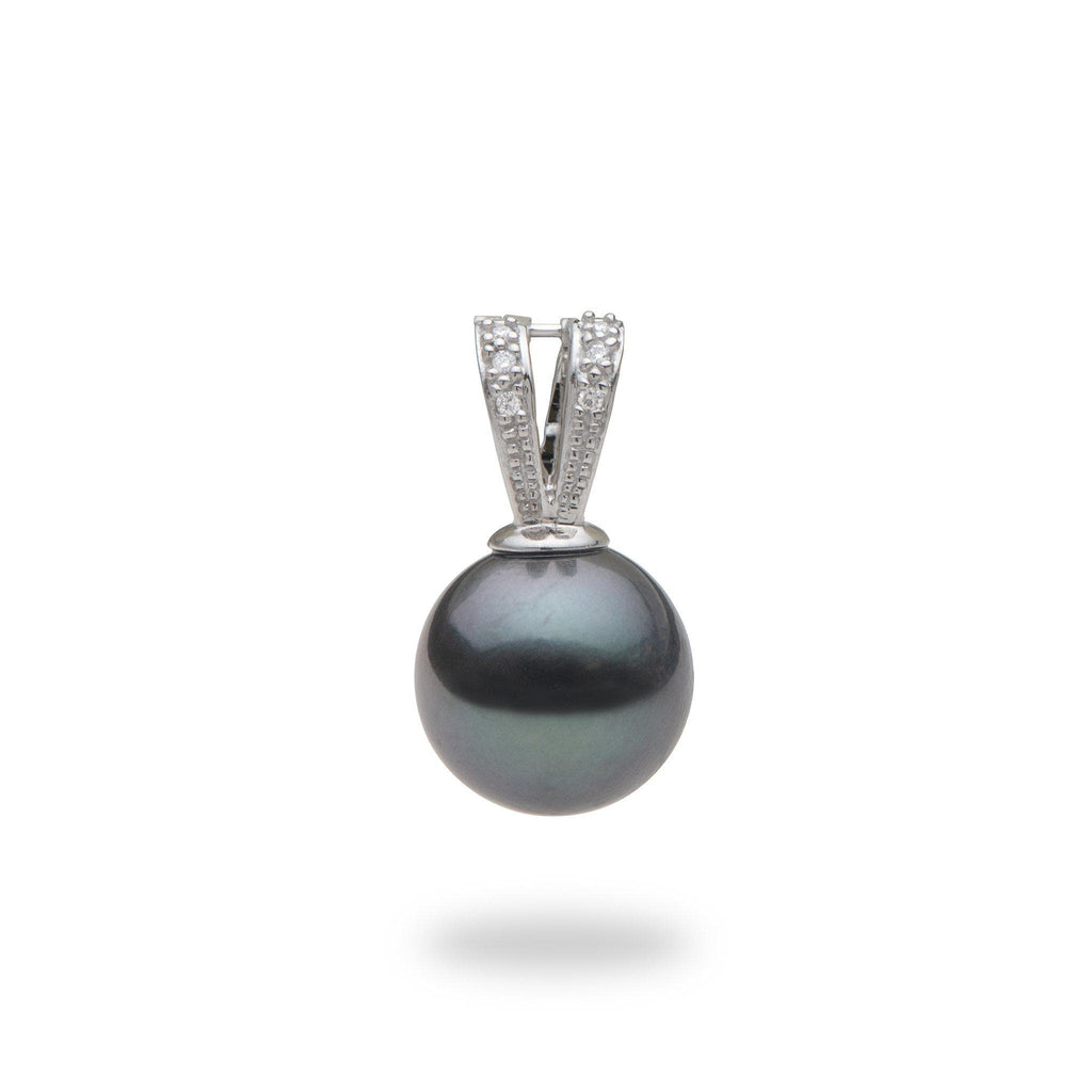 Tahitian Black Pearl Pendant Enhancer in 14K White Gold with Diamonds