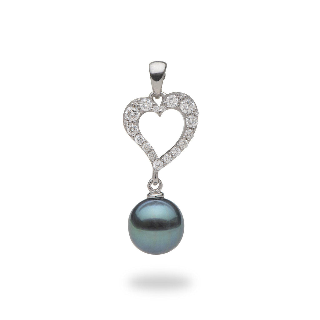 Tahitian Black Pearl Pendant with Diamonds in 14K White Gold (8-9mm)