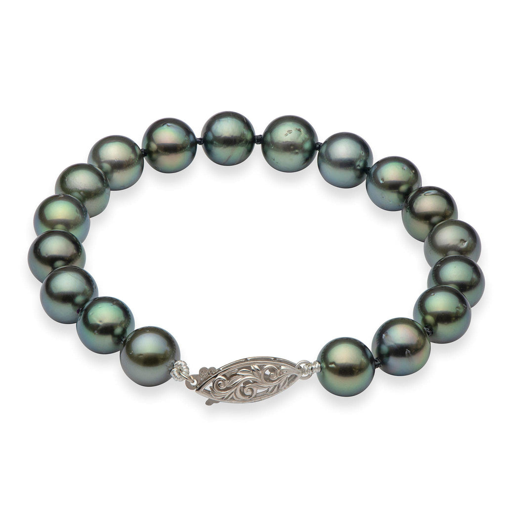 Tahitian Black Pearl (9-10mm) Bracelet in 14K White Gold 006-15101