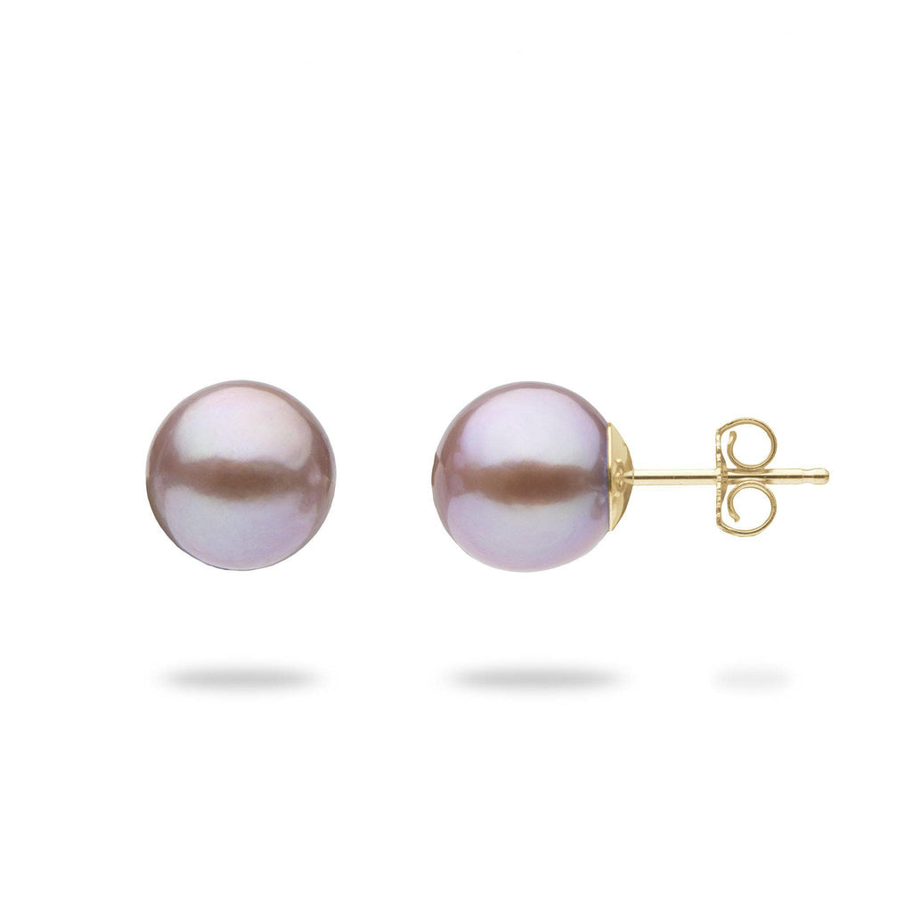 Lilac Freshwater Pearl  (9-10mm) Earrings in 14K Yellow Gold