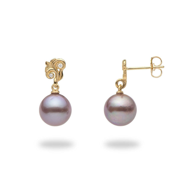 Living Heirloom Freshwater Pearl Earrings in Gold with Diamonds - 8mm-Maui Divers Jewelry