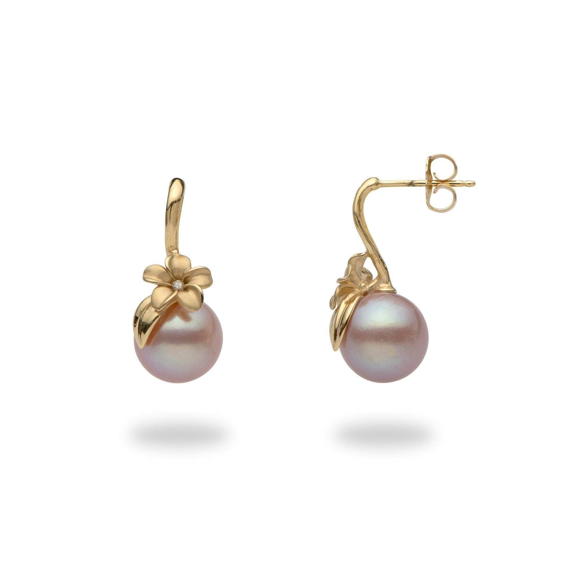 Plumeria purple pearl earrings