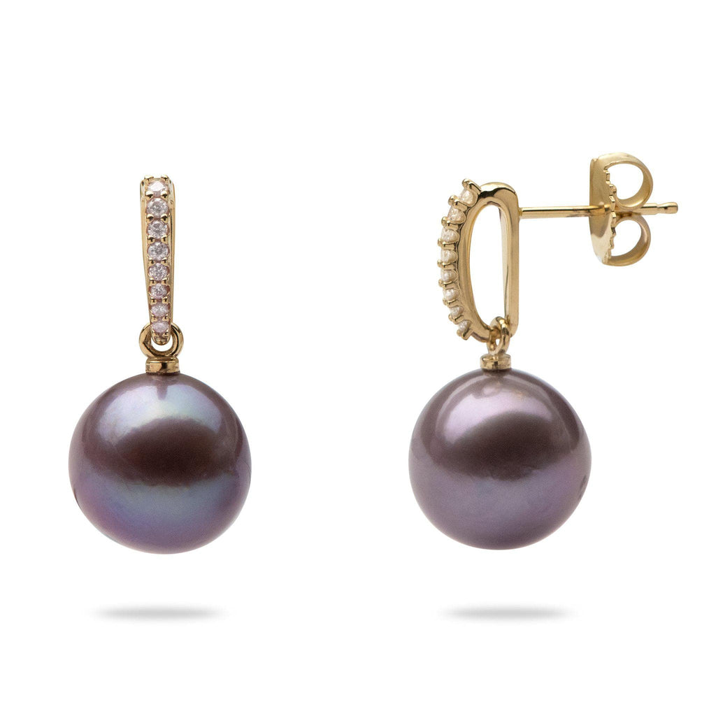 Ultraviolet purple pearl earrings with diamonds