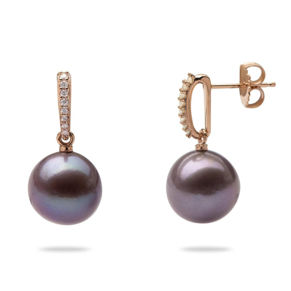 Ultra Violet Pearl Earrings with Diamonds in 14K Rose Gold (11-12mm) - Maui Divers Jewelry