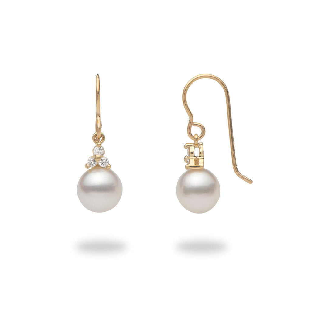 South Sea White Pearl (8-9mm) Earrings in 14K Yellow Gold with Diamonds