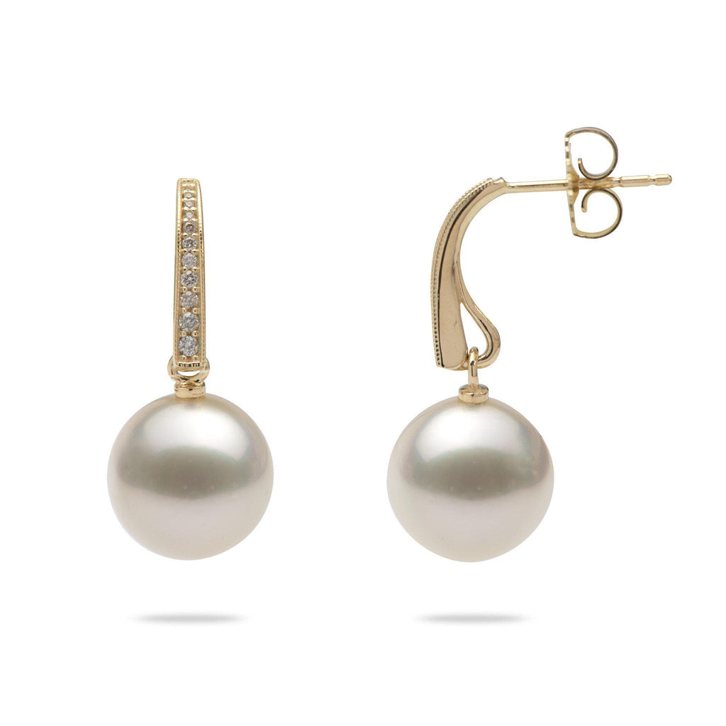 South Sea White Pearl (11-12mm) Earrings in 14K Yellow Gold with Diamonds