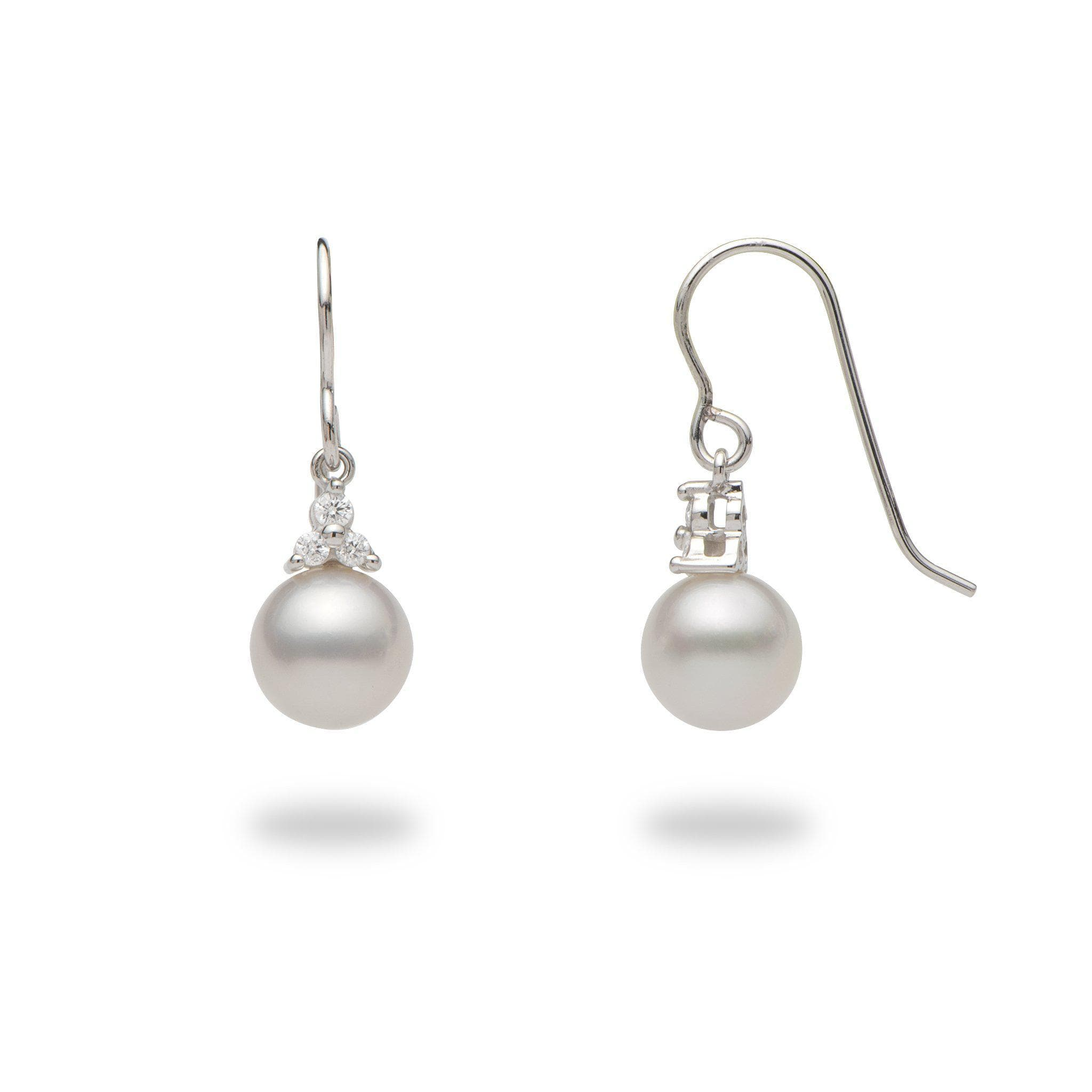 South Sea White Pearl (8-9mm) Earrings in 14k White Gold with Diamonds