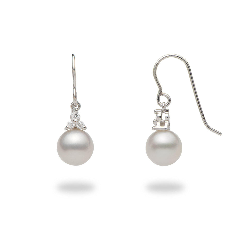South Sea White Pearl (8-9mm) Earrings in 14k White Gold with Diamonds-006-15147
