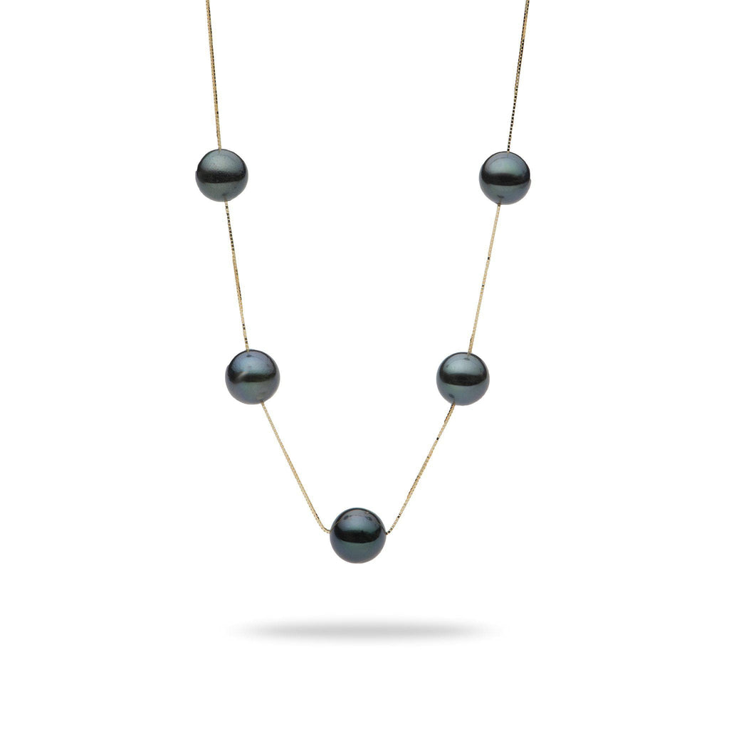 Tahitian Black Pearl (8-9mm) Necklace in 14K Yellow Gold 006-15153