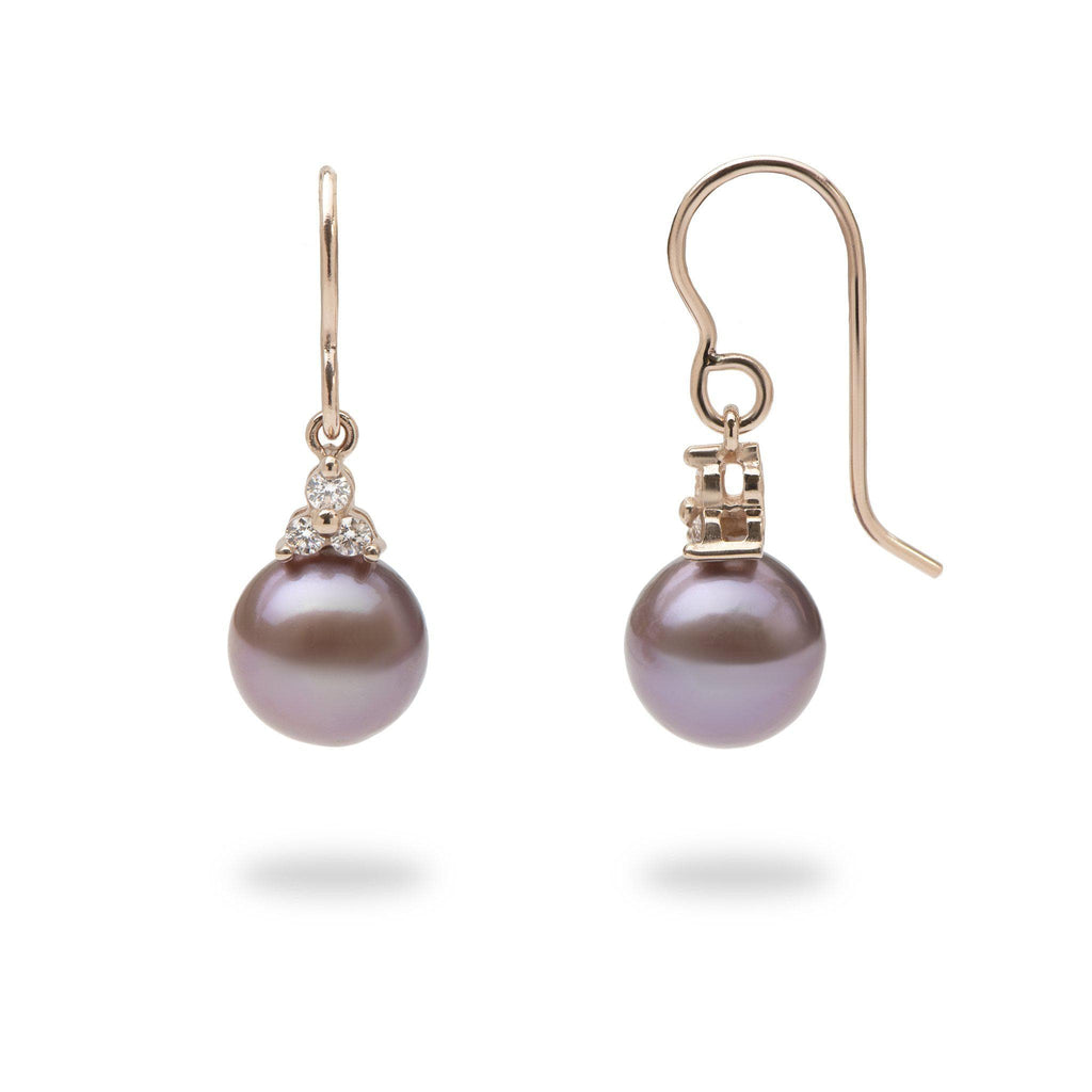 Ultraviolet Freshwater Pearl Earrings in 14K Rose Gold with Diamonds - Maui Divers Jewelry