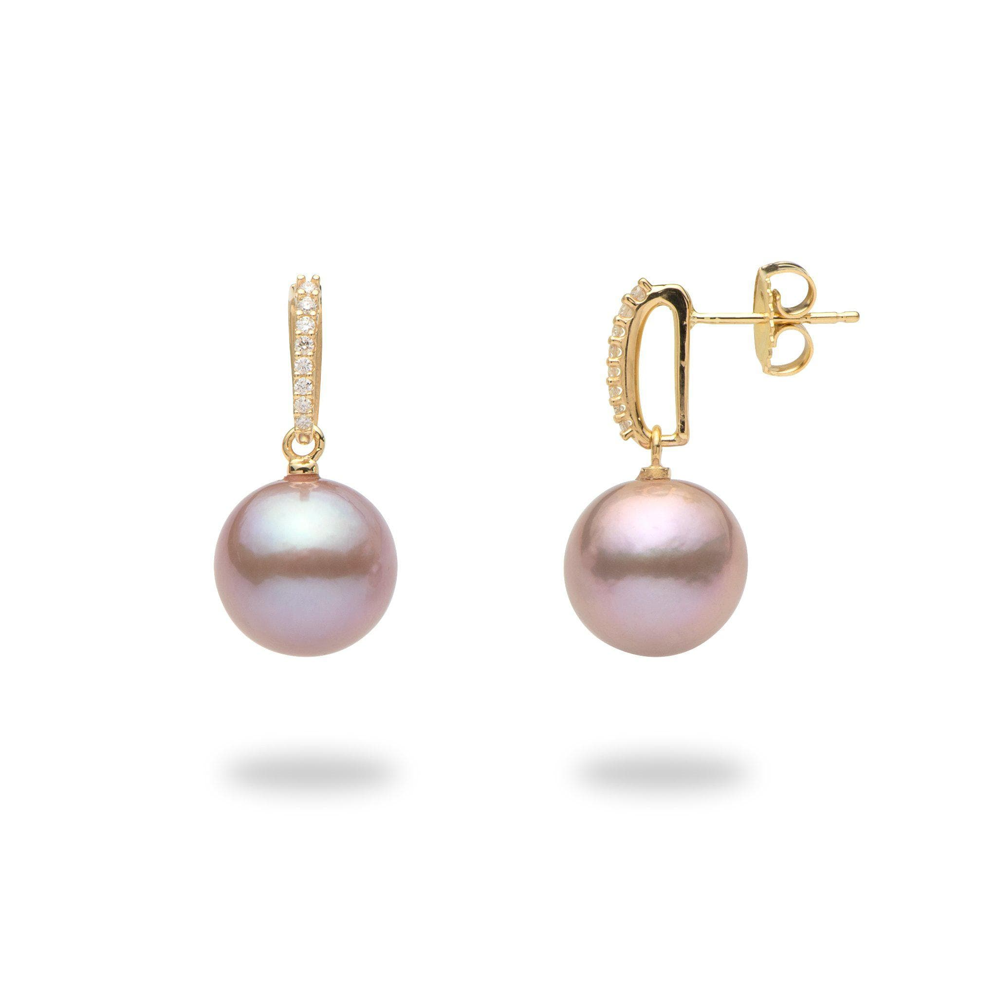9772669f34e42 Lavender Freshwater Pearl Earrings in 14K Yellow Gold with Diamonds