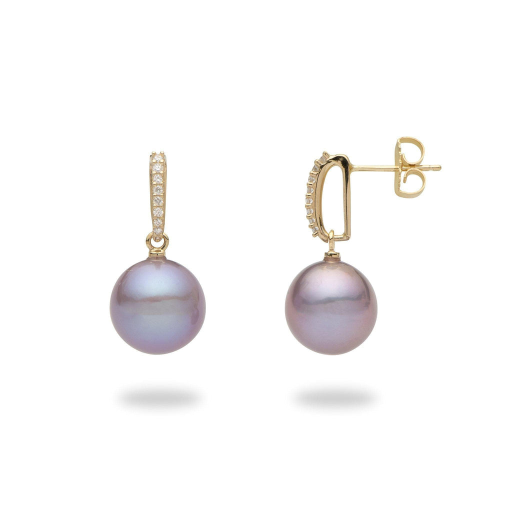 Purple pearl earrings