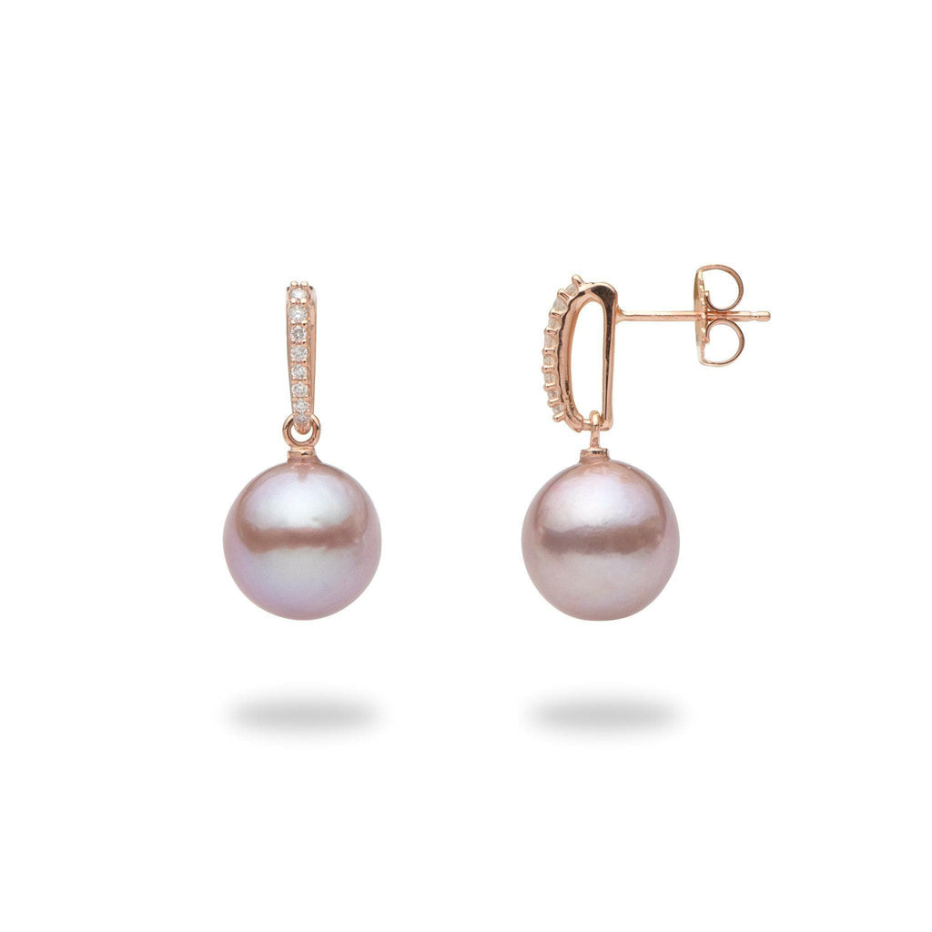 Lilac Freshwater Pearl Earrings in 14K Rose Gold with Diamonds - Maui Divers Jewelry